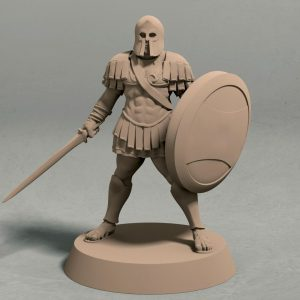 Realm of Eros soldier with sword and shield pose 1 front