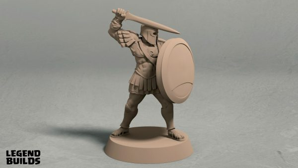 Realm of Eros soldier with sword and shield pose 2 front