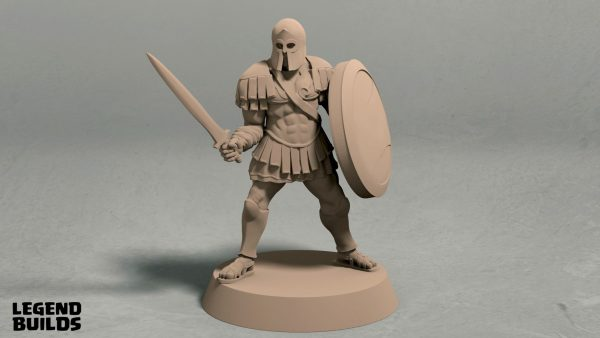 Realm of Eros soldier with sword and shield pose 3 front